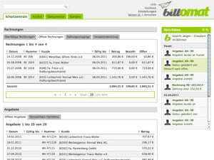 Screenshot of Billomat's software